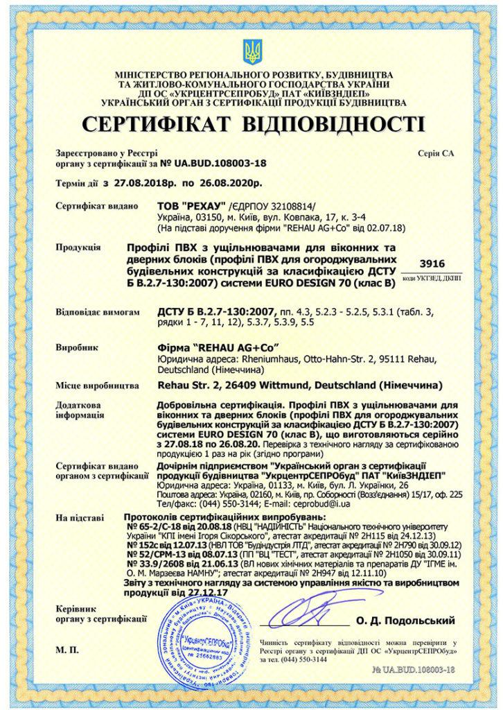 Сертификат соответствия продукции ВЕГА-ПЛАСТ государственным нормам