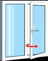Поворотно откидная часть окна - открытие